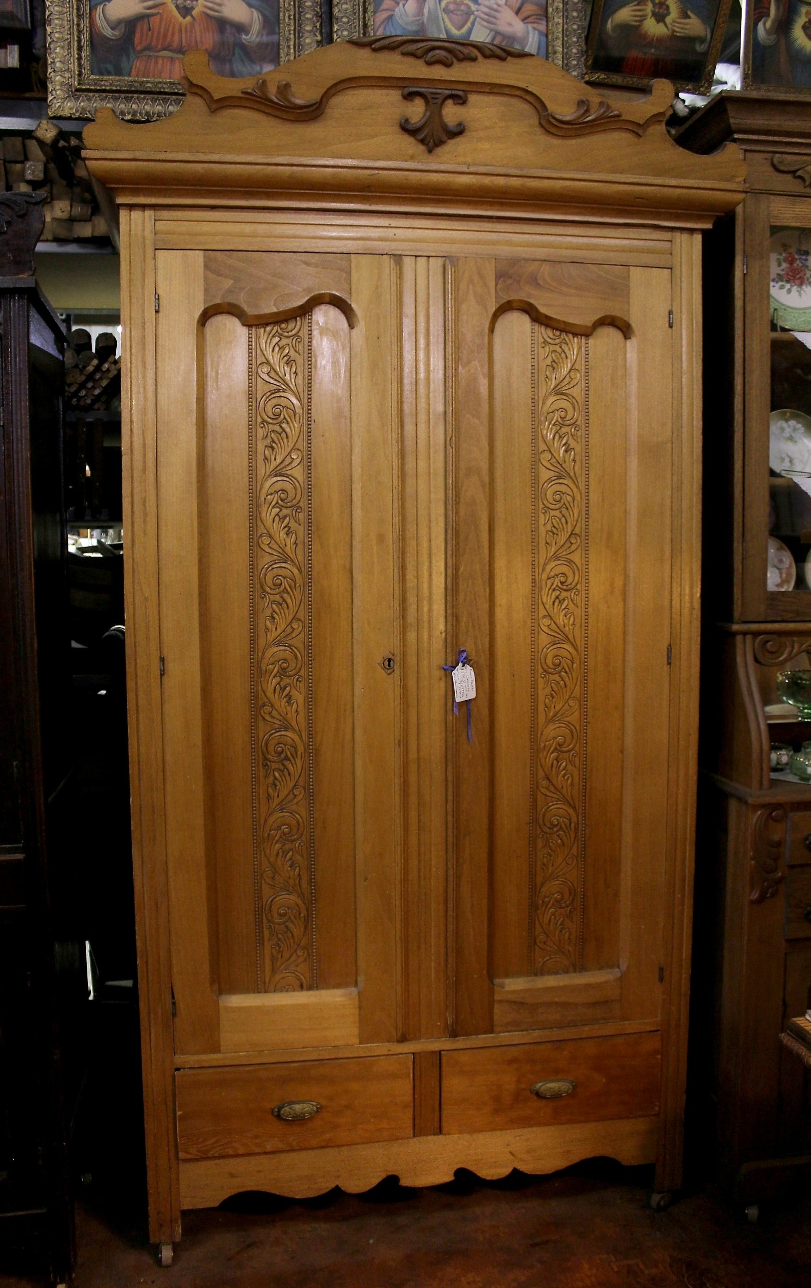 2581 #6C3E14  Wood Wardrobe Armoire Ornate Pressed Scalloped Doors With 2 Drawers picture/photo Ornate Front Doors 39791625