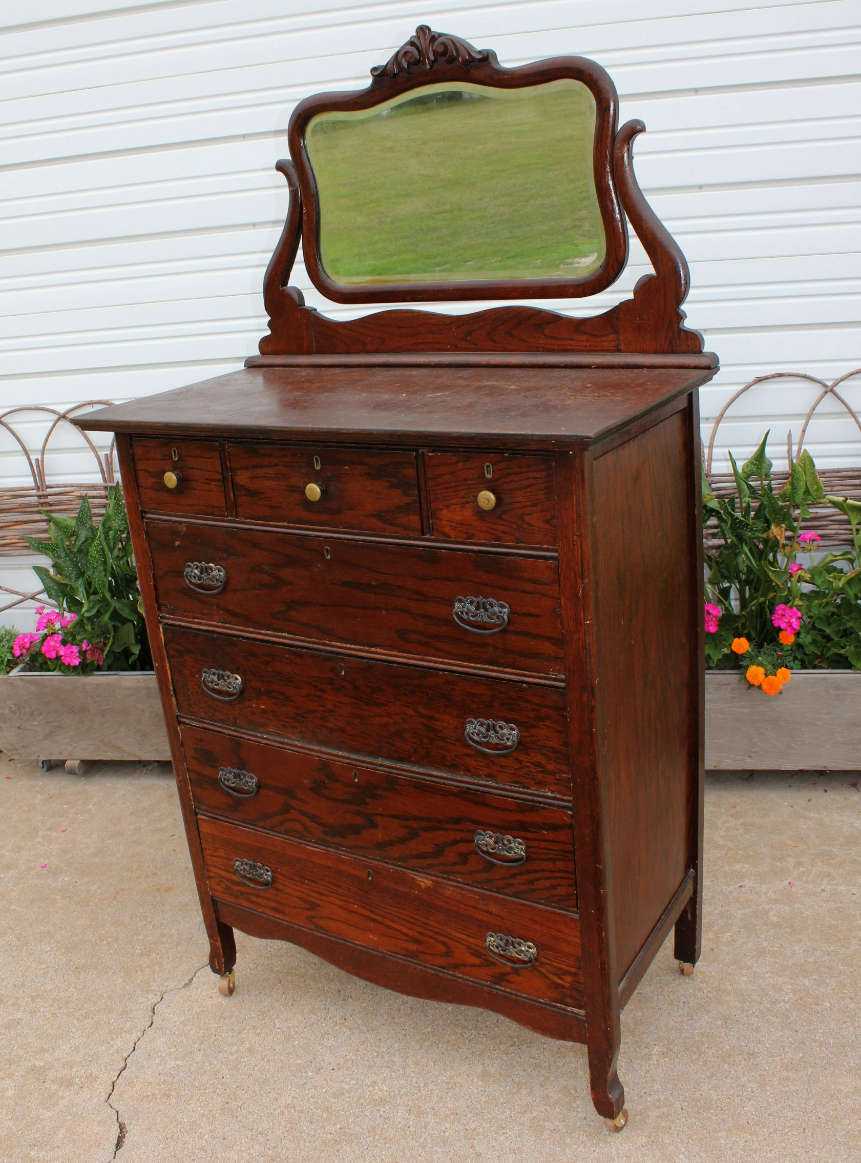 Antique Oak Highboy Dresser With Mirror Bestdressers 2017
