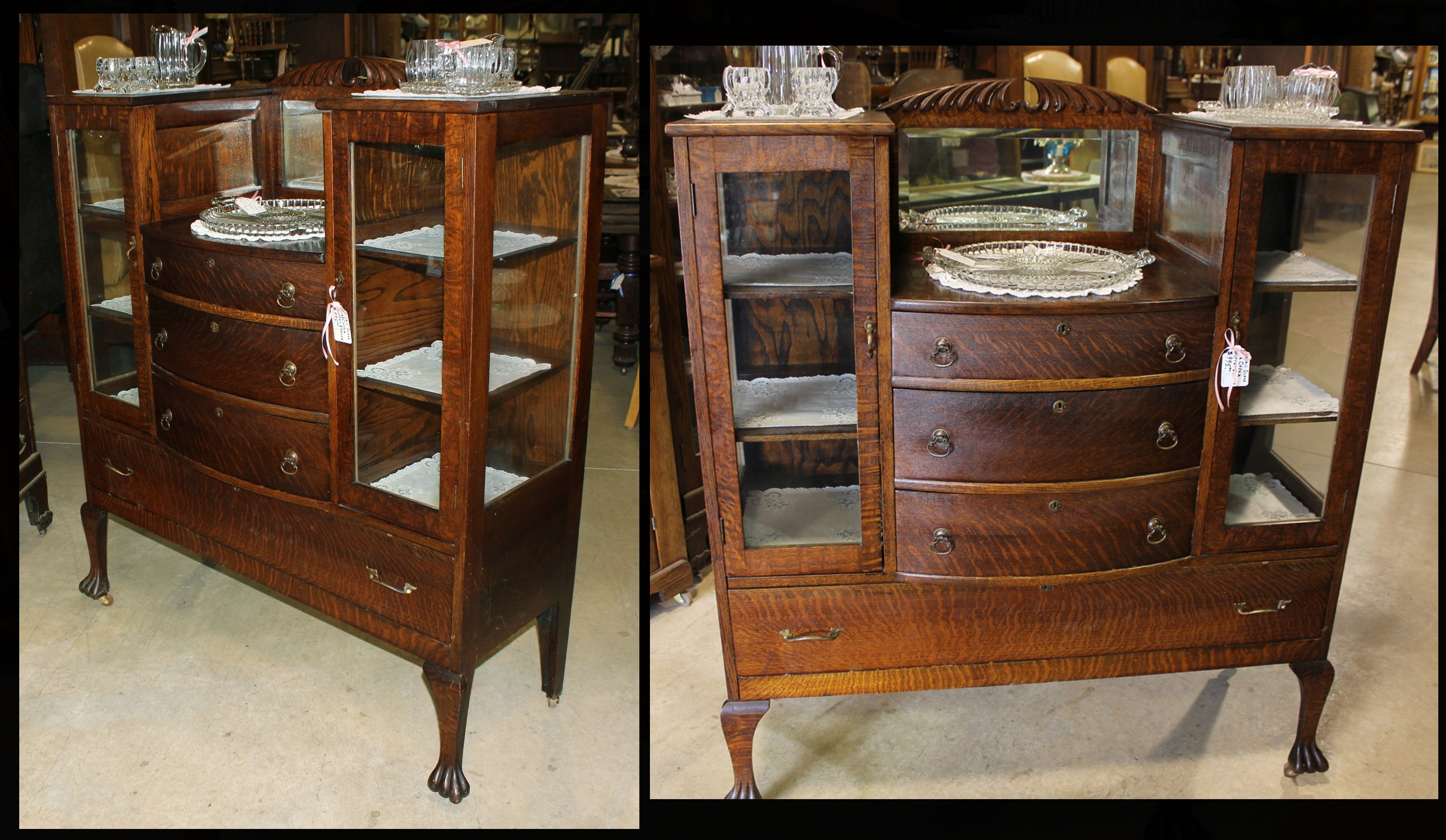 Quartersawn Oak Double China Buffet Server W Beveled Mirror Clawfeet 995 00